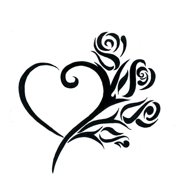 17 717 7cm cute heart with roses car sticker fashion styling vinyl car decals black