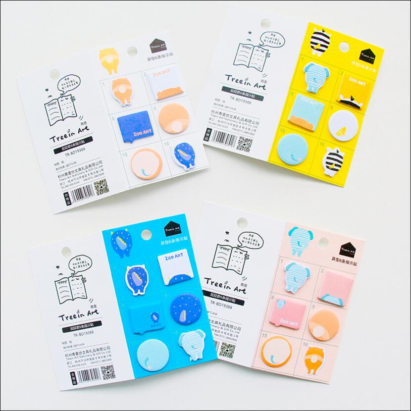 36 pcs/Lot kawaii animal Post it memo sticker Zoo art sticky note scrapbook Stationery Office accessories School supplies 6115