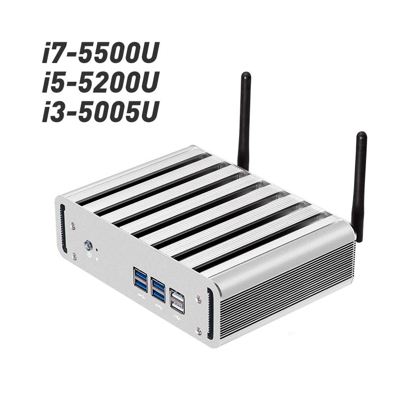все цены на Fanless Mini PC Intel Core i7 5500U i5 5200U i3 5005U Windows 10 Box PC HDMI VGA 300M WiFi 6*USB Compact Desktop PC онлайн