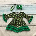 Bebê meninas do St Patrick vestido plissado crianças vestido crianças vestido Trevo verde com verde St Patrick day vestido com acessórios