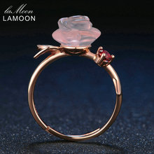 LAMOON Rose Flower 9mm 100% Natural Pink Rose Quartz Ring 925 Sterling Silver Jewelry Rose Gold Romantic Wedding Band LMRI025
