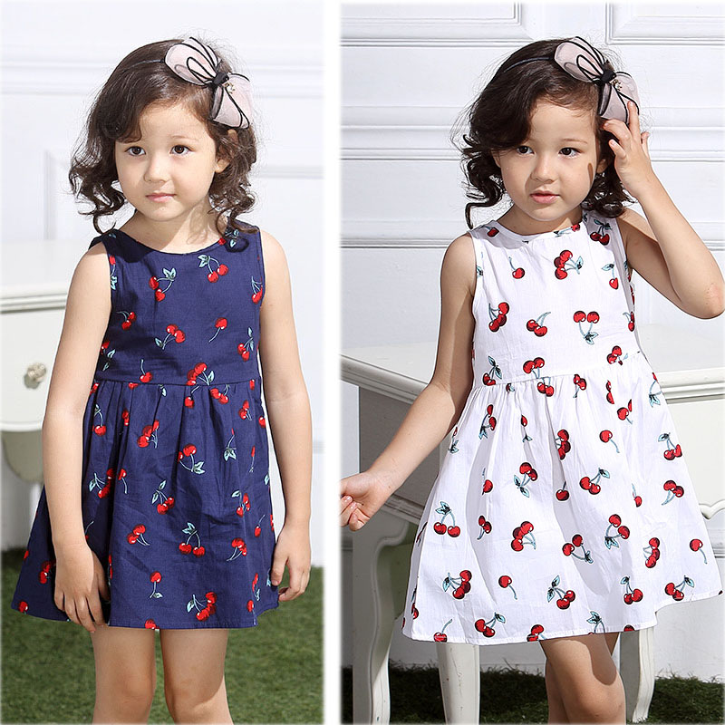Fashion Cute Sweet Princess Dresses Casual Girls Clothes Cotton Cherry Flowers Girl Dresses Child Fashion Dress  High Qu