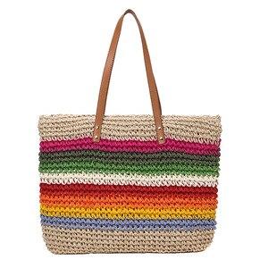 Image 2 - Женская пляжная сумка из ротанга, Плетеная соломенная сумка ручной работы, вместительная кожаная сумка тоут на плечо в богемном стиле, радужного цвета