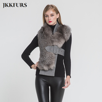 Women's Silver Fox Fur Vest Real Fur Scarves Fashion Style Lady Winter Thick Warm Fur Belt Genuine Natural Fur Top Quality S7397