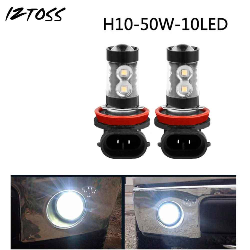 2PCS LED High Power Fog Light H10 50W Black Car Styling High Front Fog Lamps Bulds