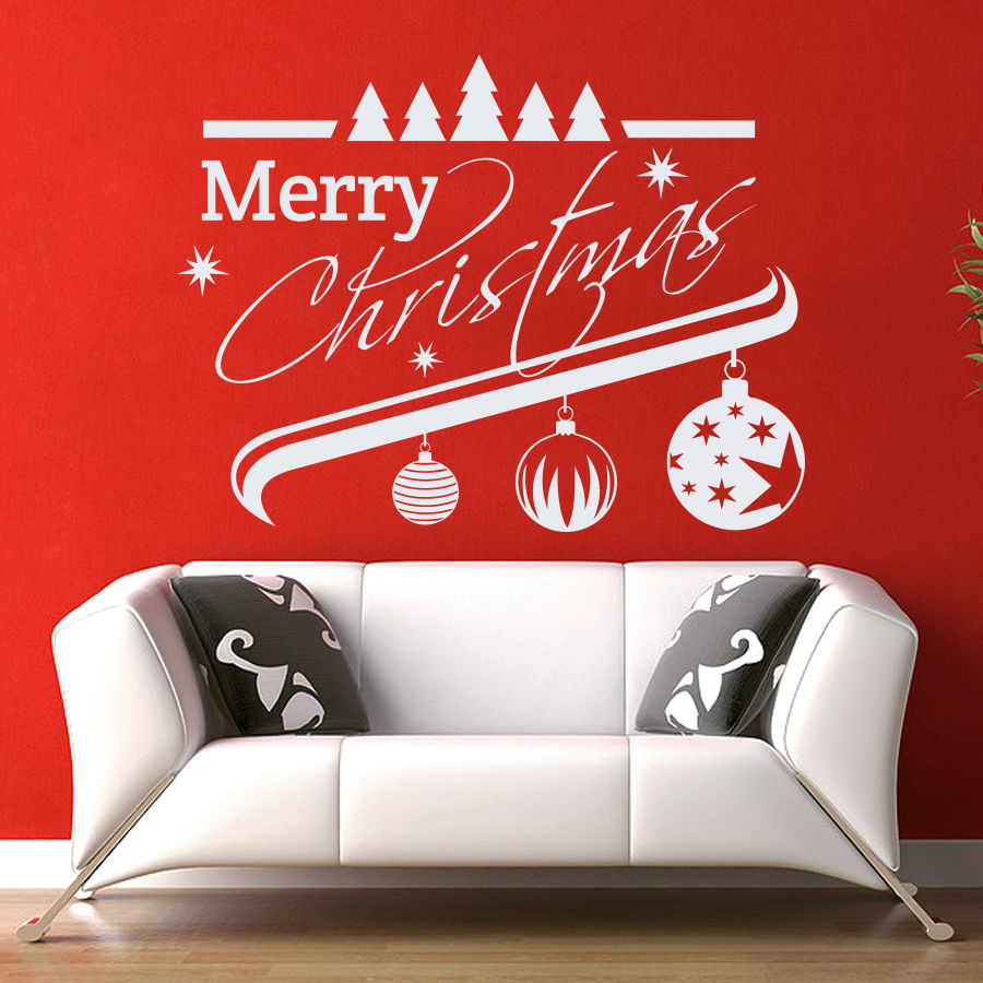 56x74cm merry christmas decor red tree removable windows for Christmas wall mural plastic