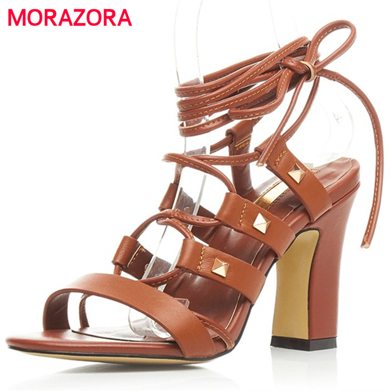 ФОТО MORAZORA Top quality high heels shoes sandals women rivets solid lace-up summer shoes party genuine leather big size 34-40