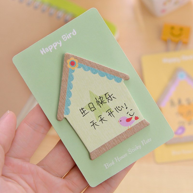 Lovely Bird House Cartoon Memo Pad Cute Sticky Note Post It Sticker Office Stationery Planner Notepad Kawaii Notebook Scrapbook