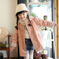 Girls fashion princess cotton outerwear children's beauty lace trench
