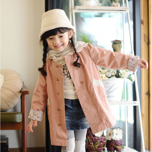 Moda princesa de algodón de abrigo niños de belleza encaje zanja