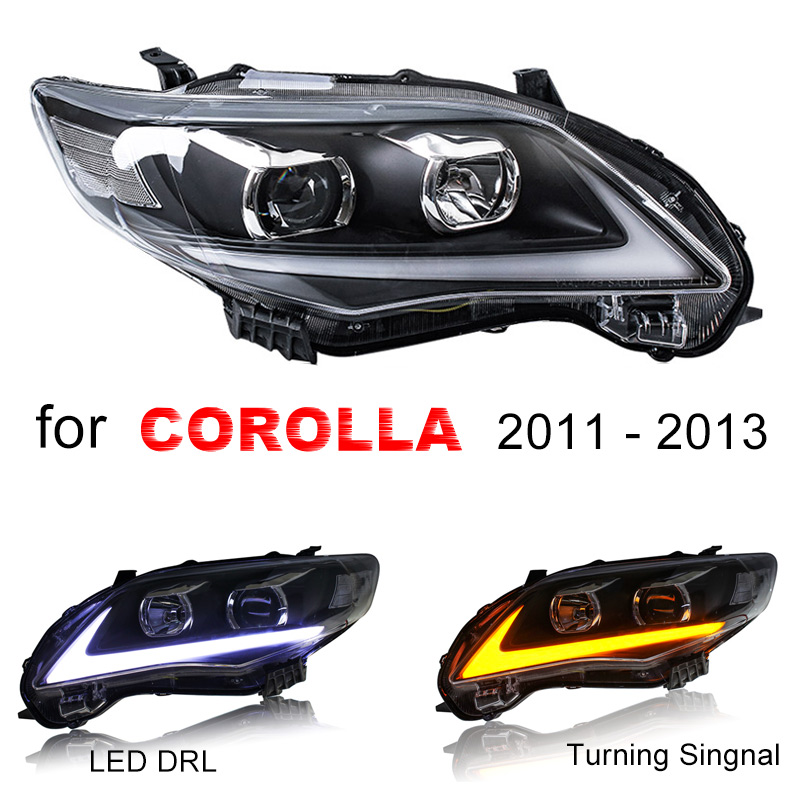 Headlight Assembly for Toyota Corolla 2011 2012 2013 Left and Right side with LED DRL Running