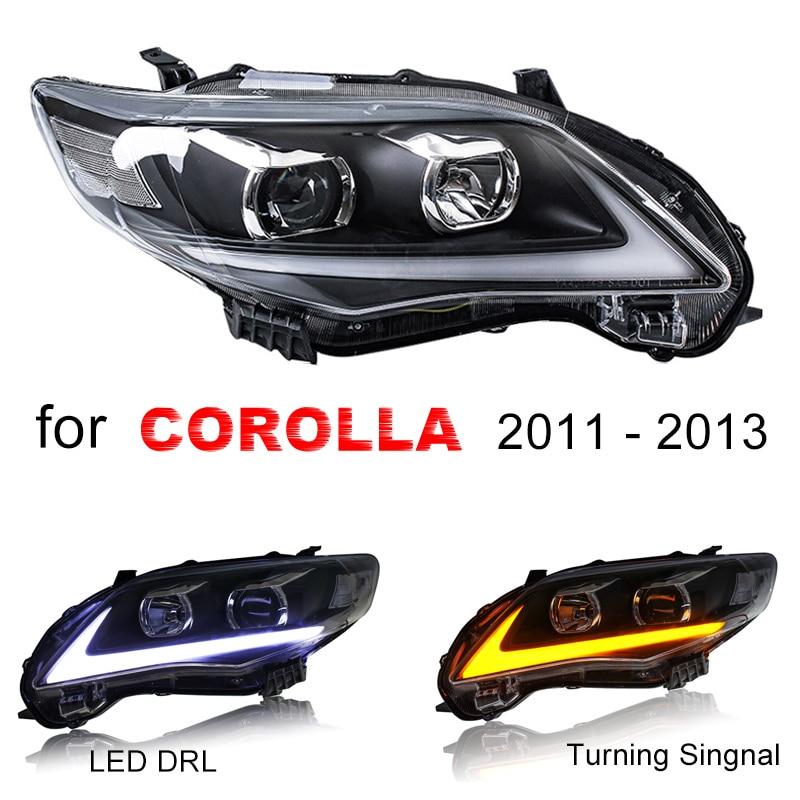 Assemblage de phares pour Toyota Corolla 2011 2012 2013 côté gauche et droit avec feu de roulement DRL LED et clignotant jaune