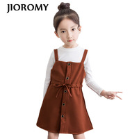 JIOROMY 2019 Girls Clothe Sets Autumn White O neck T shirt + Bow Tie Strap Dress 2pcs Suits for Large Girls Children's Clothing