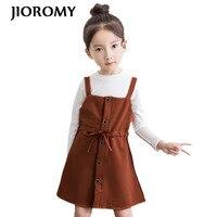 JIOROMY 2019 Girls Clothe Sets Autumn White O neck T shirt + Bow Tie Strap Dress 2pcs Suits for Large Girls Children's Clothing