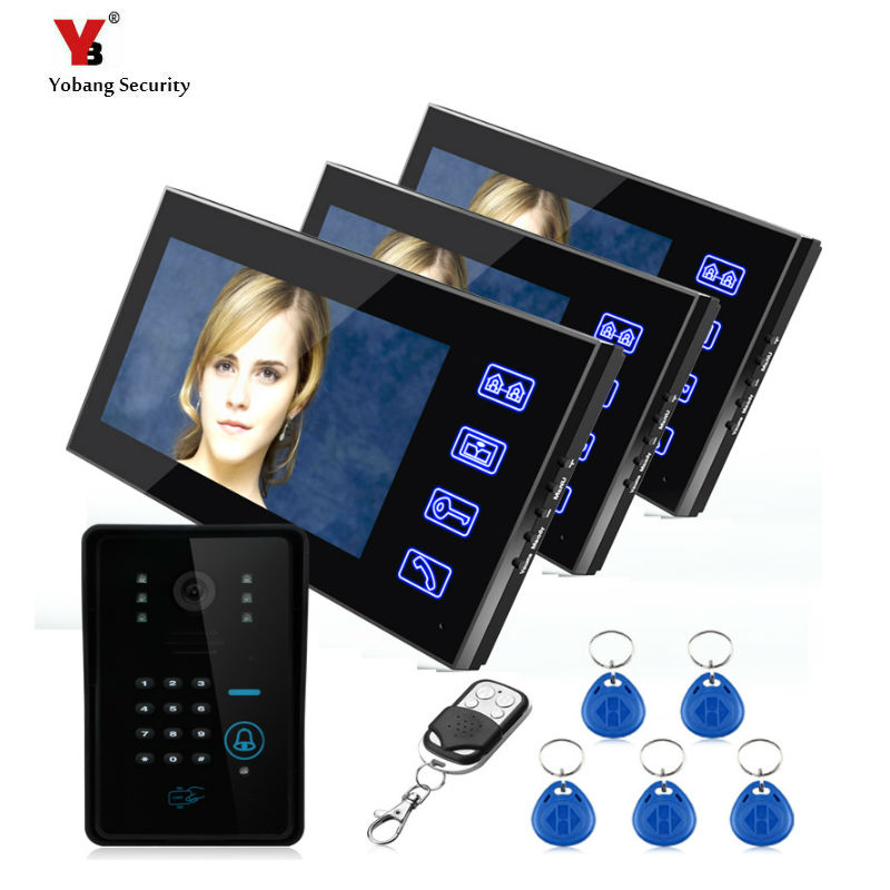 Yobang Security freeship 7 inch Video intercom Doorbell video door phone System Home Security TFT Monitor with Waterproof Camera freeship 10 door intercom security system hands free monitor color tft lcd screen intercom system video door phone for villa