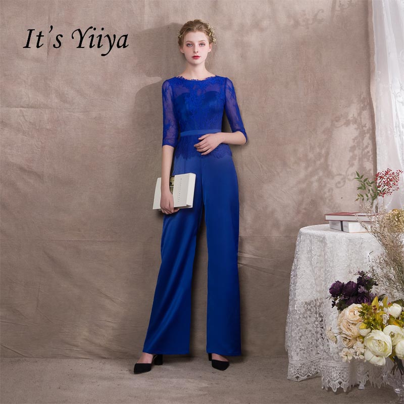 Its Yiiya Lace Half Sleeves Illusion Zipper Empire Party Dresses