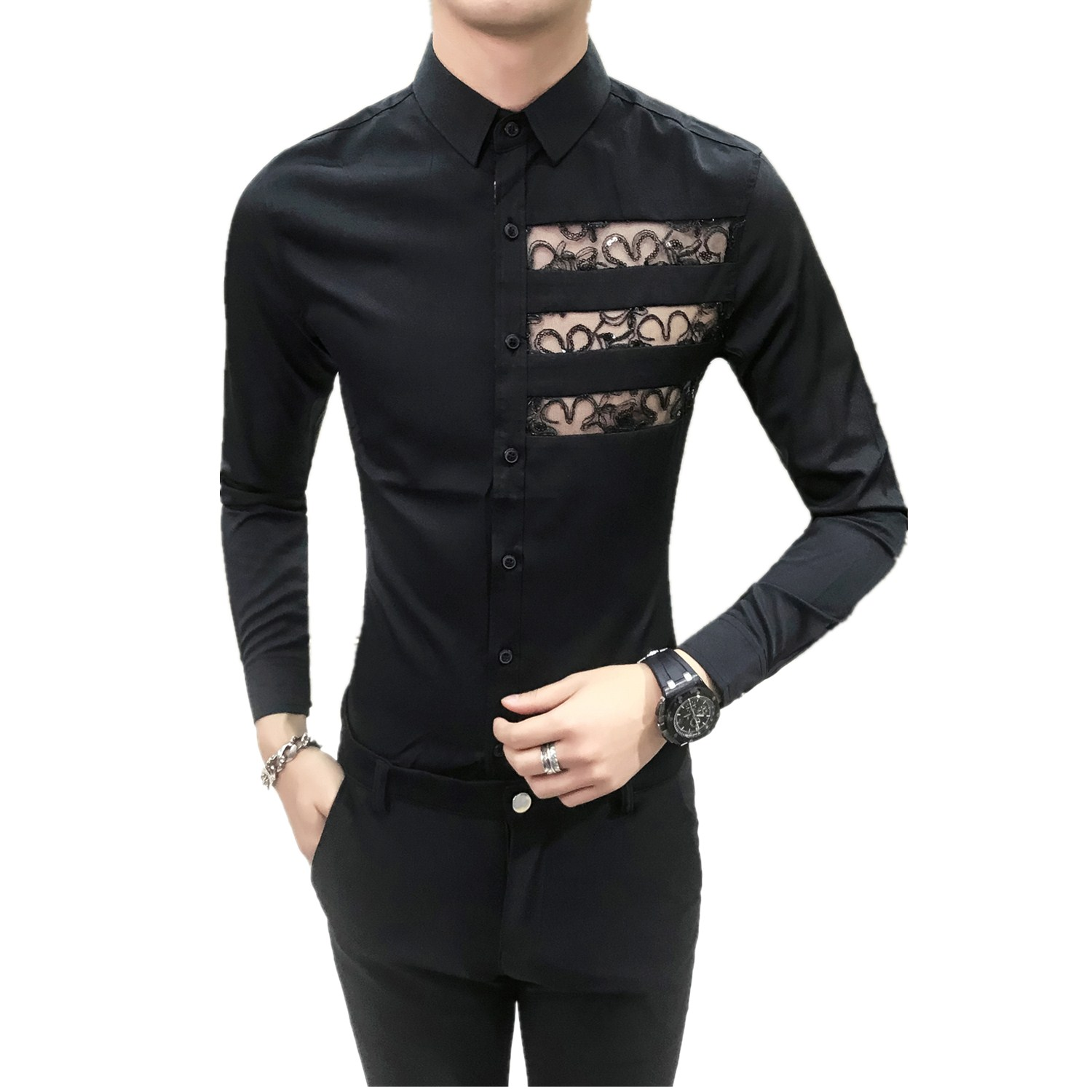 Mens Shirts Casual Camicie Uomo Lace Design Long Sleeve Shirt Slim Fit Chemise Homme Shirt Man Camisas Social Masculina Feminina in Casual Shirts from Men 39 s Clothing