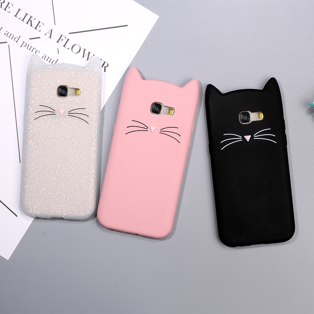 Animal Gato Caja Del Teléfono para Samsung Galaxy A5 2017 3D Lindo Bigote Gato d