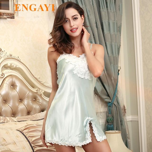 62856631fb 2017 Women Night Dress Nightgown Sexy Silk Satin Nightdress Nightwear Lace  Sleepwear Night Gown Sexy Robe Bathrobe Set DQ112