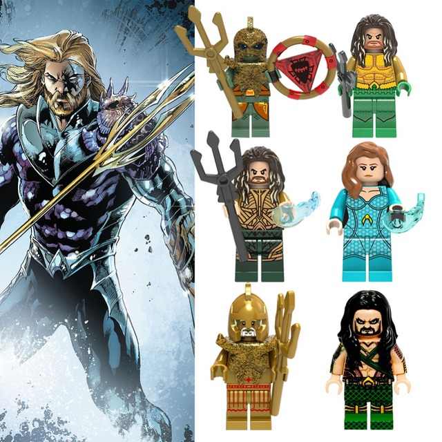 Aquaman Legoings Blocos Marvel Figuras de Ação Aquaman Venompool Veneno Spiderman Carnificina Aquaman Batman Modelo De Tijolo Brinquedos