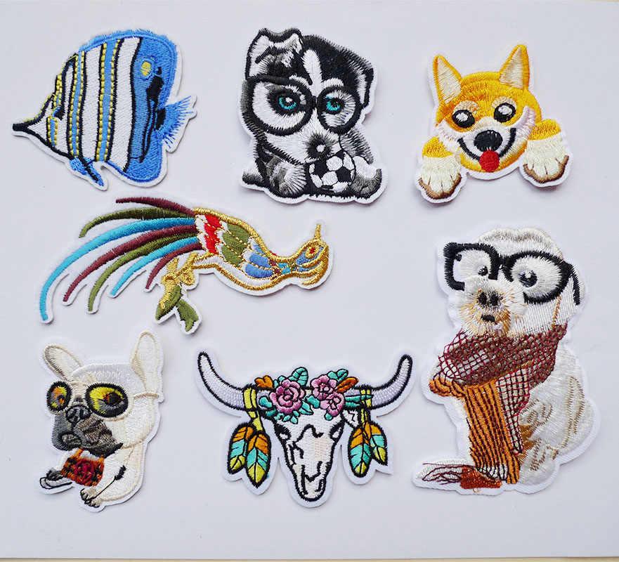 1 Uds. 3D perro pájaro peces animales coser en parches bordados para ropa rayas pegatina Jeans apliques parches con insignias para prendas