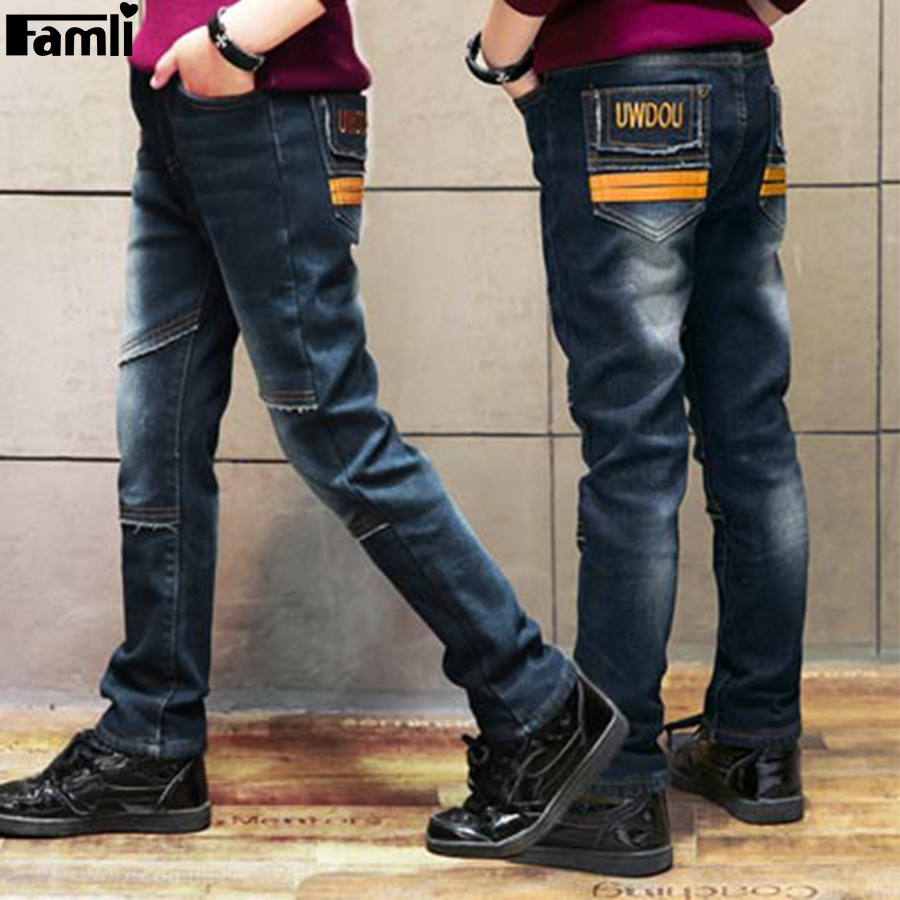 Famli Teen Boys Jeans 2017 Kids Casual Light Solid Straight Denim Pants Spring Autumn Children 4Y-14Y Boys Jean Pants 8 10 12 14 straight leg distressed denim jeans