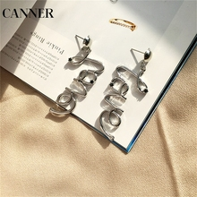 CANNER New Gold Silver Color Love Letter Earrings For Women Bohemian Black Rhinstone Metallic Statement Earring Jewelry R4