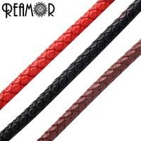 REAMOR 5 мм плетеный кожаный веревочный шнур для браслет ювелирные изделия корабль делая оптом DIY находок