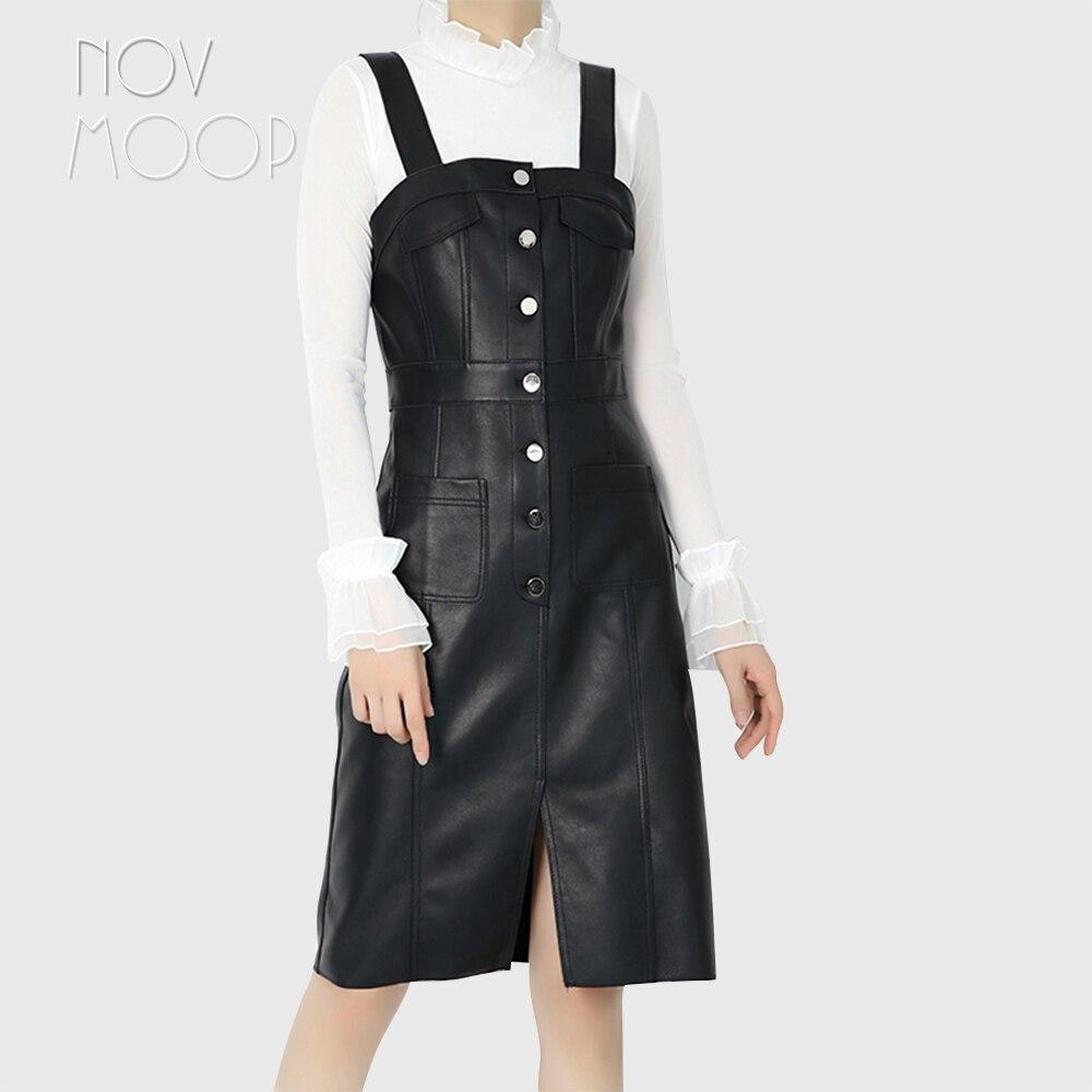 Femmes de piste automne printemps noir en cuir véritable véritable agneau taille haute sangle pinabefore robe slim jurken robe LT2615 livraison gratuite