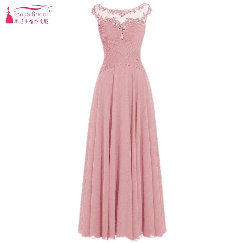 Illusion Neck Chiffon Bridesmaid Dresses 2018 Beach Long Style Lace ...