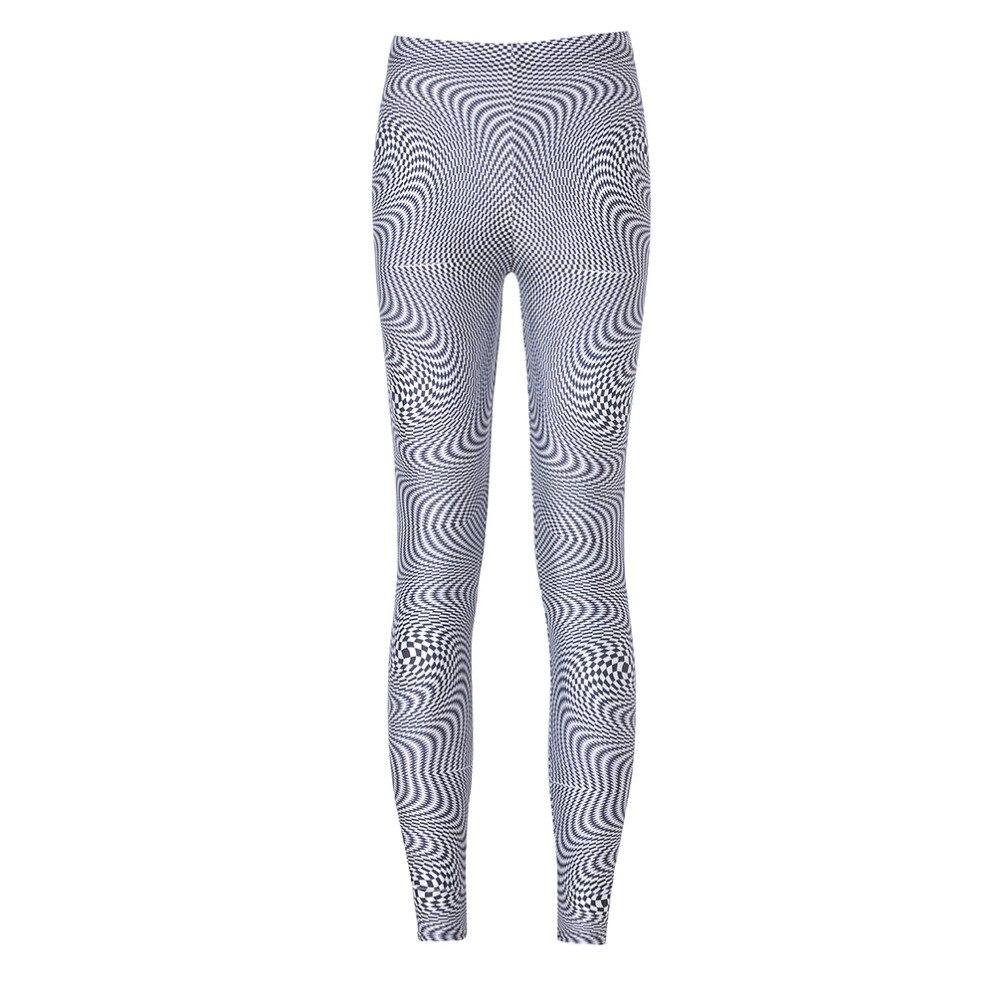 NºOcio moda mujer Leggings negro blanco Wave Impresión digital ...
