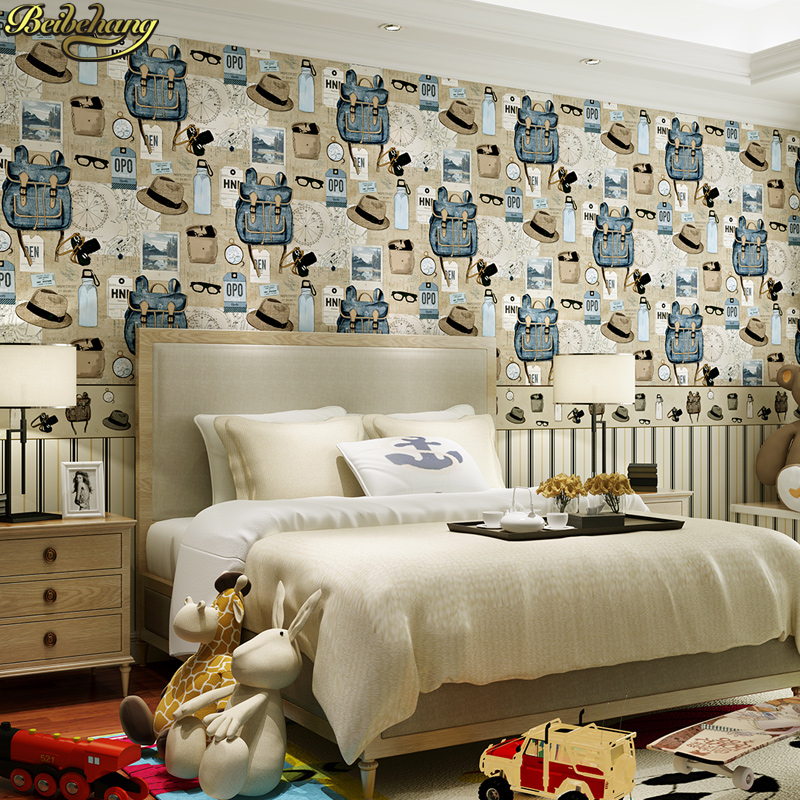 beibehang American country retro backpack environmental non-woven wallpaper boys and girls bedroom shop papel de parede