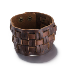 2016 New Braided Genuine Leather Bracelets Men Fashion Punk Wide Cuff Brown Bracelets & Bangle for Women Men Jewelry Accessory