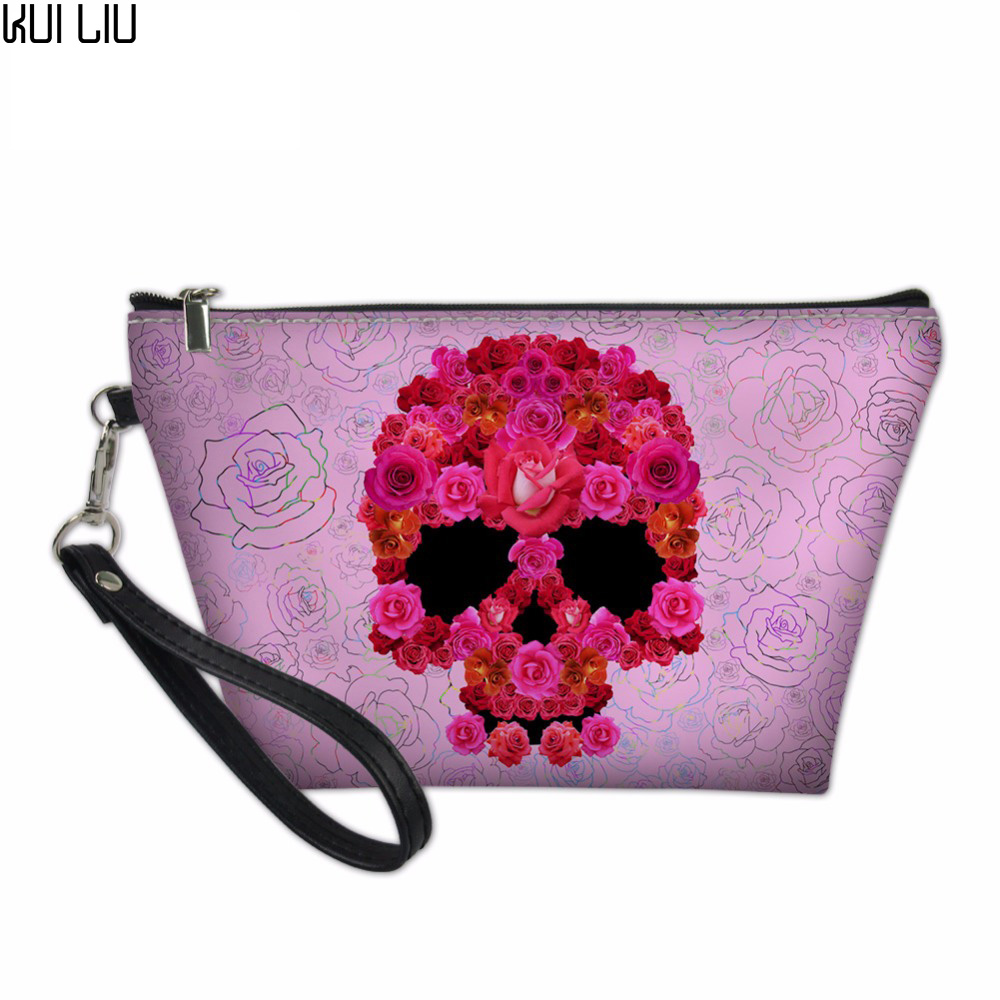 Customized Makeup Bag Skull Travel Cosmetic Bag For Girls Toiletry Bag PU Leather Makeup Pouch Professional Makeup Case Zipper
