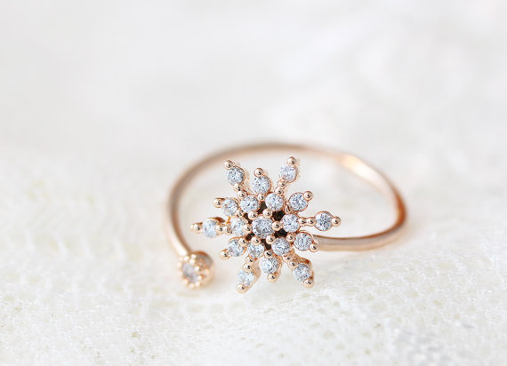 CZ Crystal Snowflake Ring Adjustable Crystal Open Rings Elsa Cool Fashion Jewelry for Women Bridesmaid Wedding Christmas gift