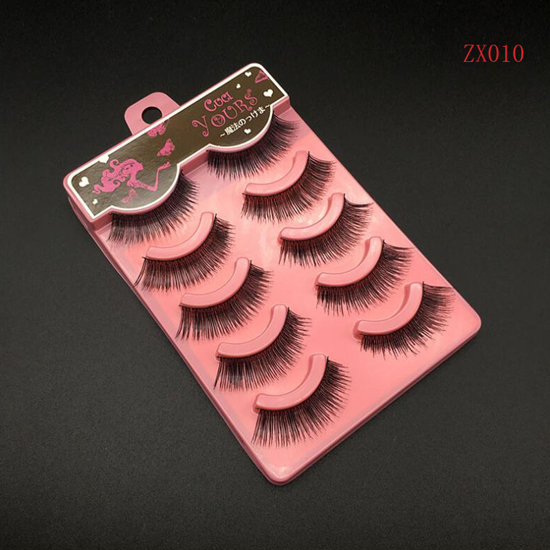 5Pairs/Set Handmade Charming Soft Makeup Beauty Thick Black Long False Eyelashes Natural Fake Eye Lashes Extension Tools C169