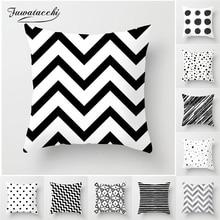 Fuwatacchi Black and White Geometric Decorative Cushion Cover Grid Printed Sofa Throw Pillow Car Chair Home Decor Pillow Case цена в Москве и Питере