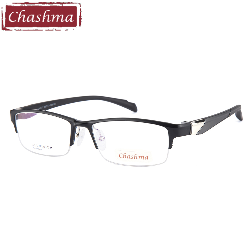 1c404ad01a Chashma Brand Sport Style Men Eyeglass Aluminum Magnesium Frame TR90 Temple  Fashion Semi Rimmed Spectacles for Men Clear Lenses-in Eyewear Frames from  ...