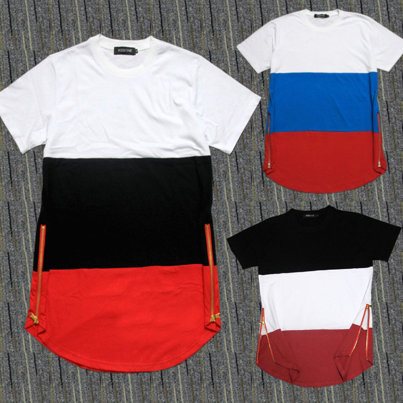 Mens t shirts fashion 2015 swag t shirts golden zip Hiphop KTZ jay-z Breathable solid Cotton Patchwork extended drop T shirt