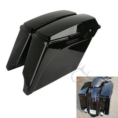 """TCMT Vivid Black 5"""" Stretched Extended Hard Saddlebags Trunk For Harley Touring FLH FLT 93-13 Road King Electra Street Glide"""