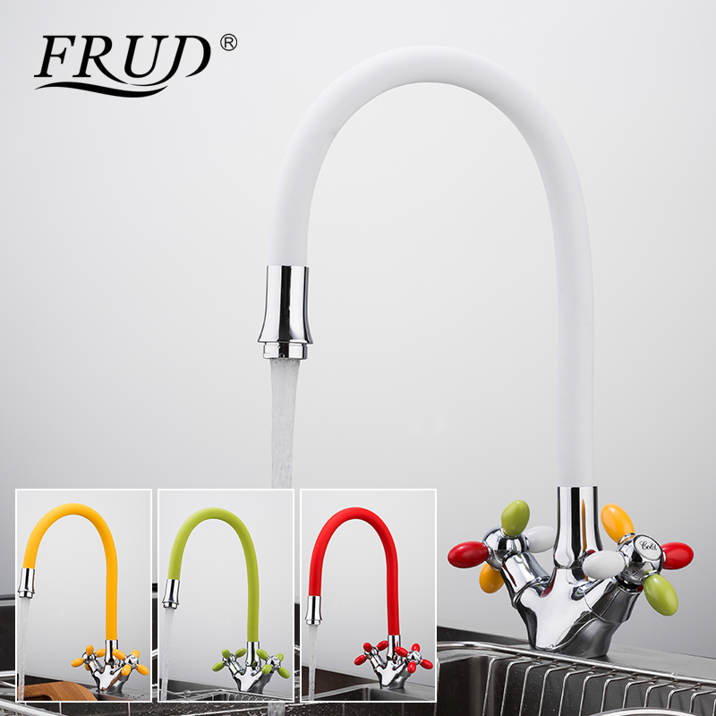 FRUD Kitchen Faucets 4 Colour Dual Handle Kitchen Mixer Faucet Sink Faucet Water Taps Chrome Brass Cold And Hot Mixer