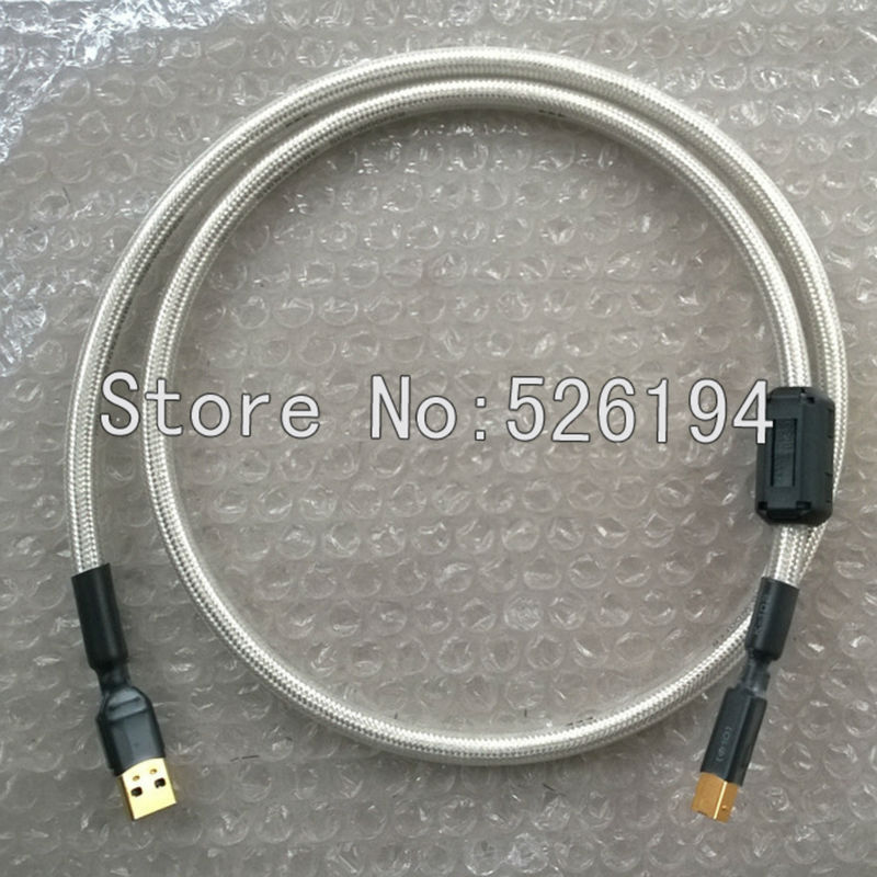 Free shipping 1.5 meter Pair QED Signature silver plated hifi USB audio cable With A to B plugs connection