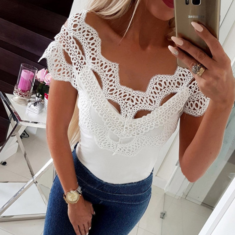 Feminina   Blouse     Shirt   Lace Hollow Out Fashion Woman   Blouses   2019 Short Sleeve Womens Tops and   Blouses   Off Shoulder Tops Summer