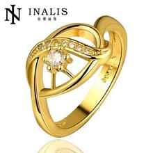 R690-A Wholesale High Quality Nickle Free Antiallergic New Fashion Jewelry 18K Gold Plated Ring