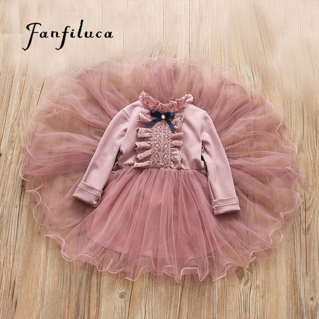 Fanfiluca Bé Cô Gái Ăn Mặc Ren Công Chúa Cô Gái Bên Đầm Dài Tay Áo Kids Dresses for Girls Trẻ Em Quần Áo