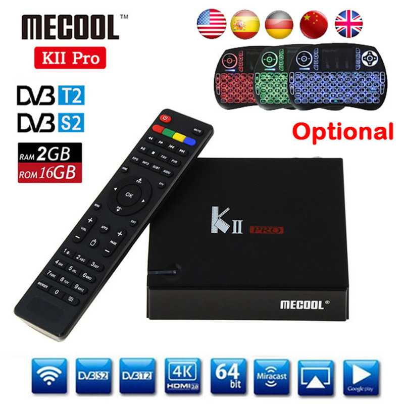 DVB T2 Android TV Box K2 PRO 2GB 16GB DVB T2 DVB S2 Android 7.1 Amlogic S905D Dual WIFI HEVC KII pro 4K Smart TV Box + Keyboard