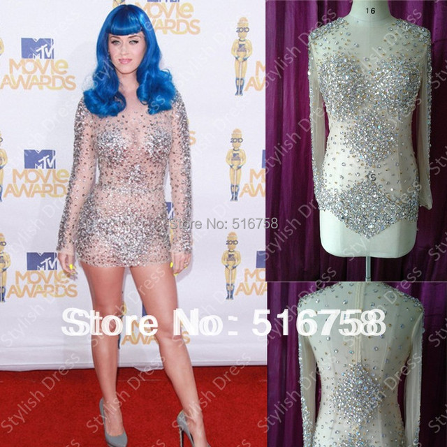 Hot 2017 Custom Made Sheer Long Sleeve Fully Crystal Beaded Y Club Dress Short