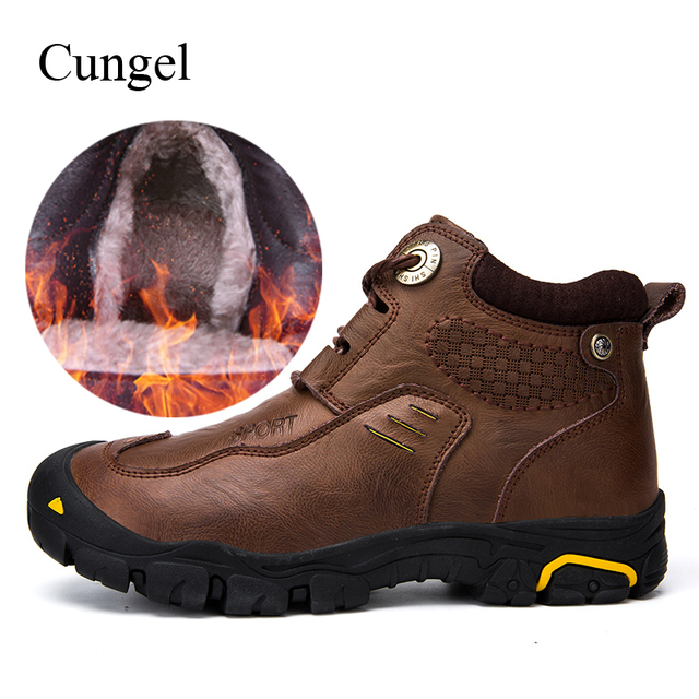 Cungel Winter shoes men Outdoor Trekking Hiking boots Keep warm plush Wear-resistant Leather boots Mountain climbing shoes