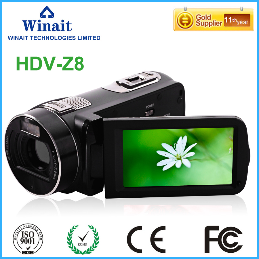 New Style Professional Camcorder Digital Video Camera HDV-Z8 3.0 1080P 5.1MP CMOS Sensor Anti-Shake Face And Smile Detection winait electronic image stabilization hdv z8 digital video camera with recording function touch screen
