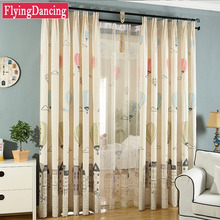 blackout curtains for kids bedroom cartoon printed linen tulle curtain for child living room curtains modern